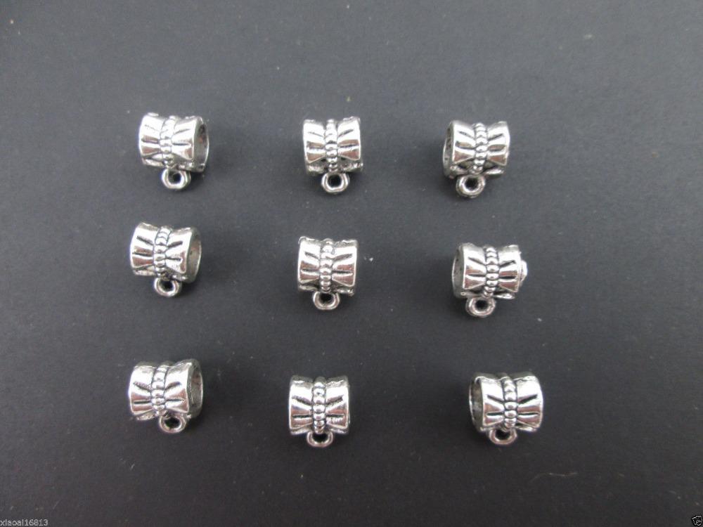 10Tibetan Silver Big Hole Spacer Beads Dangle Bails Connectors Fit Charms European Bracelet - Retail--Store store