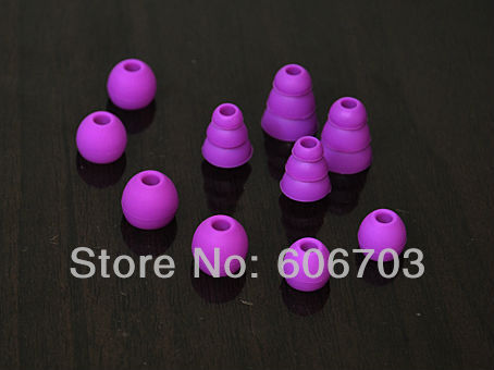 2 Sets purple Replacement tips and ear buds earbuds for ALL Beats Tour / sony / UE In-Ear headphones 4mm inner diameter(China (Mainland))