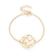 วงกลมสีดำ 1 ชิ้น Travel Jewellery ปรับ Wanderlust Earth ของขวัญวาเลนไทน์ World แผนที่ Golden สร้อยข้อมือ Chain Link(China)