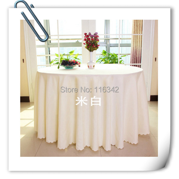 "Big Discount !!!! 120"" Round Polyester 10pcs Ivory White Table Cloth For Wedding &Party &Resturant Decoration FREE SHIPPING(China (Mainland))"