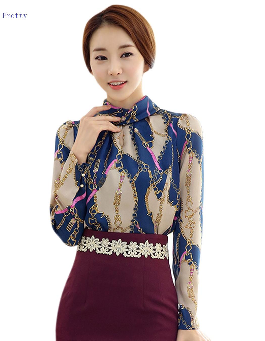 New Arrival 2015 Women Casual Summer Blouses Korean Fashion Vintage Long Sleeve Sheer Tops ...