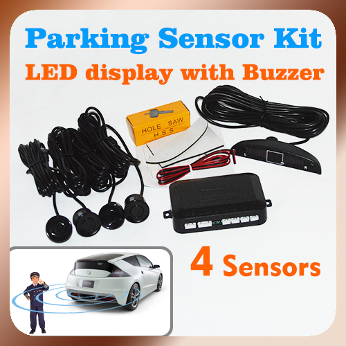 Free Shipping Car Parking System with 4 Sensors 22mm + LED Display + Buzzer Alarm, Auto Parking Sensor Kit Radar System(China (Mainland))