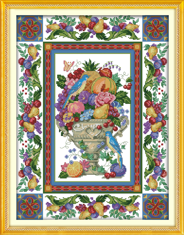 Gorgeous fruit bowl, counted printed on fabric DMC 14CT 11CT Cross Stitch kits,embroidery needlework Sets, Home Decor(China (Mainland))