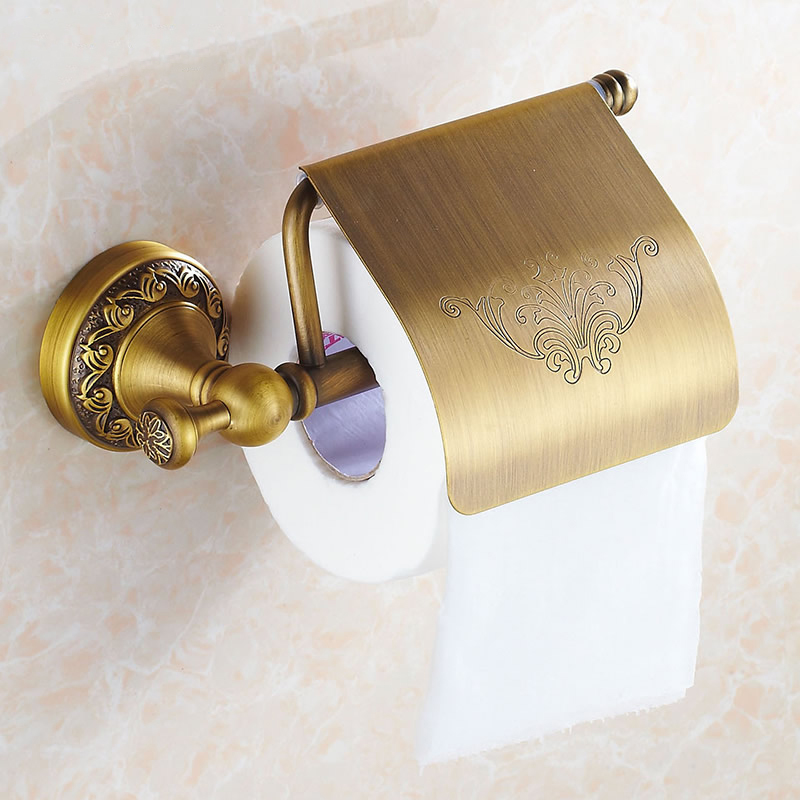 Free Shipping antique toilet paper holder copper paper towel holder roll tissue box bathroom hardware DG-8308F(China (Mainland))
