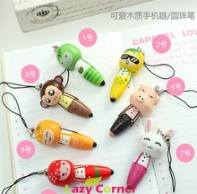 funny Magic Pen Wooden cartoon animal Pendant mobile phone chain ballpoint pen rabbit dog monkey pig frog cubs random send Z296(China (Mainland))