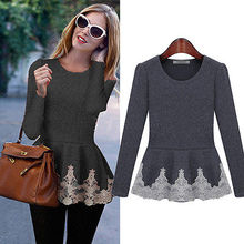 New Womens Ladies Flared Stretchy Peplum Frill Top Slim Long Sleeve Blouse Shirt(China (Mainland))