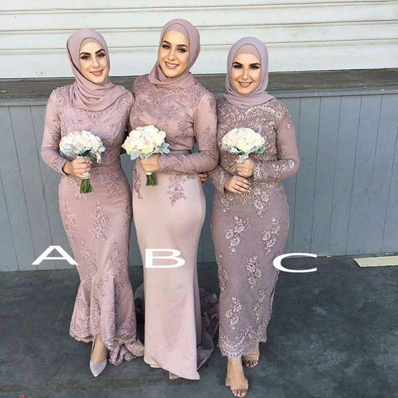 Popular Long Sleeve Bridesmaid Gown Buy Cheap Long Sleeve