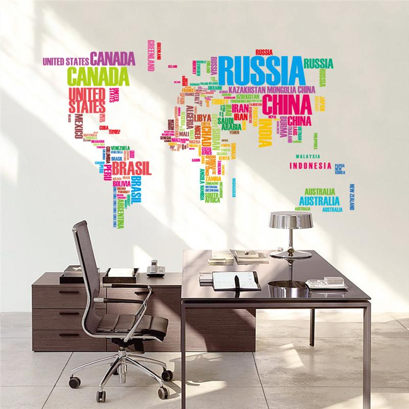 colorful letters world map wall stickers living room home decorations creative pvc decal mural art zooyoo035 diy office wall art(China (Mainland))