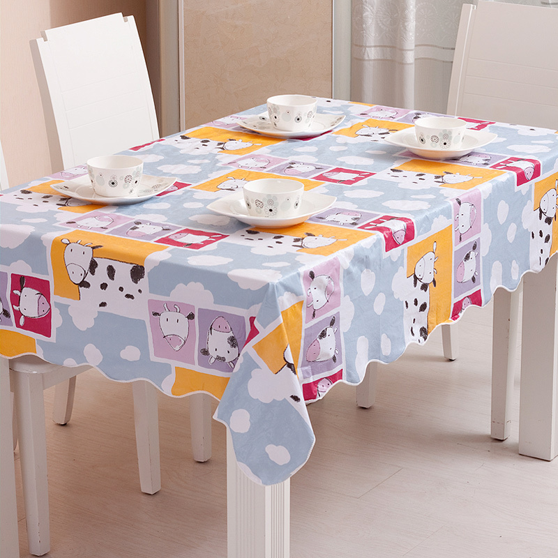 Cartoon Calf Printed Children's Favorite Lovely Tablecloth PVC Party Table Cloth For Outdoor & Home Banquet Use(China (Mainland))