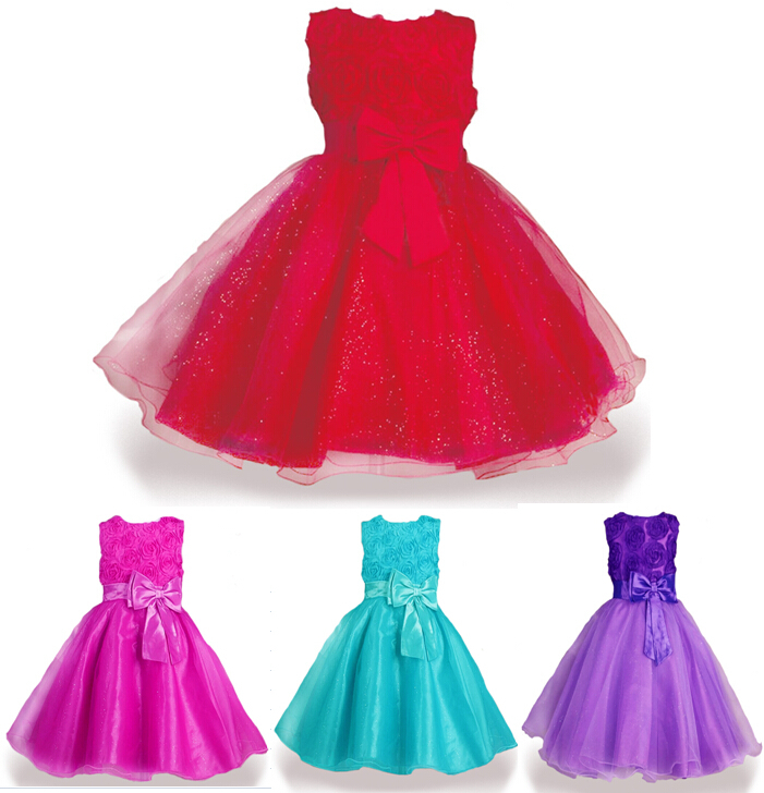 Retail!!! 2015 new girl summer Party wedding dresses,baby Girls Red Rose princess dress,kids fashion bowknot costume,free ship(China (Mainland))