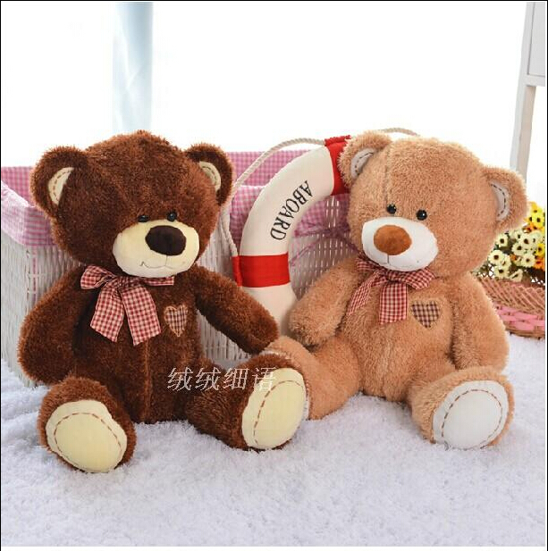 1 Pcs 24cm Love Bear Plush Toy Teddy Bears Two Colors High Quality Selling Toys For Kids Free Shipping(China (Mainland))