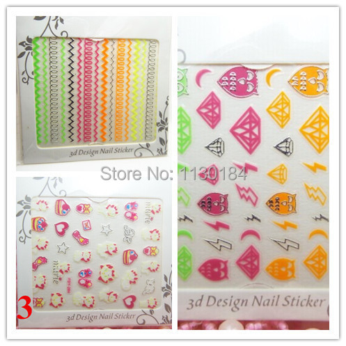 2014 New Wholesale Nail Fluorescent 3D Nail Stickers 100pcs lot Chevron nail, skull, brand, crown, etc. Free Shipping,(China (Mainland))