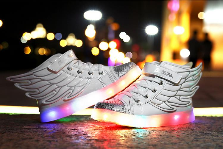 Wings Children Sneakers Lighted Kids Casual High-Top Shoes For Boy&Girl Fashiom Colorful Glow Kids Shoes LED Chaussure Enfant