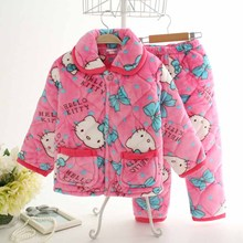 2016 Girls & Boys Autumn Winter Clothes Flannel Pyjamas Pijamas Kids Pajamas Sleepwear Coral Fleece Nightwear Set  Homewear