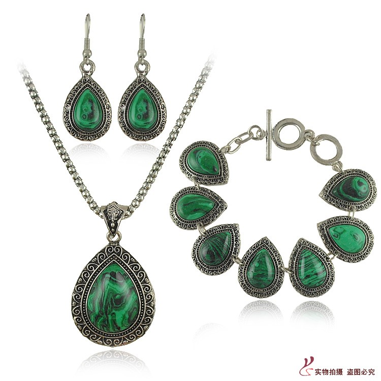 Green Costume Jewellery: New Fashion Green Turquoise Jewelry Sets Water Drop