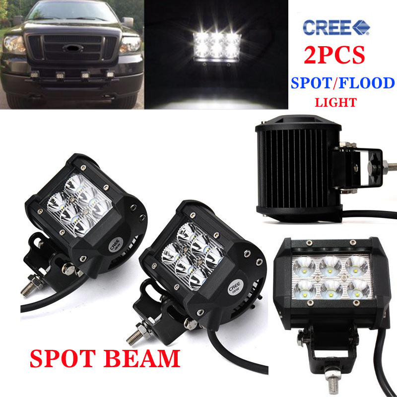 2pcs 18W 4 inch Offroad LED Work Light Bar for Driving Tractor Boat Truck SUV ATV Car Garden Backyard 12V 24V with Wiring Kit(China (Mainland))