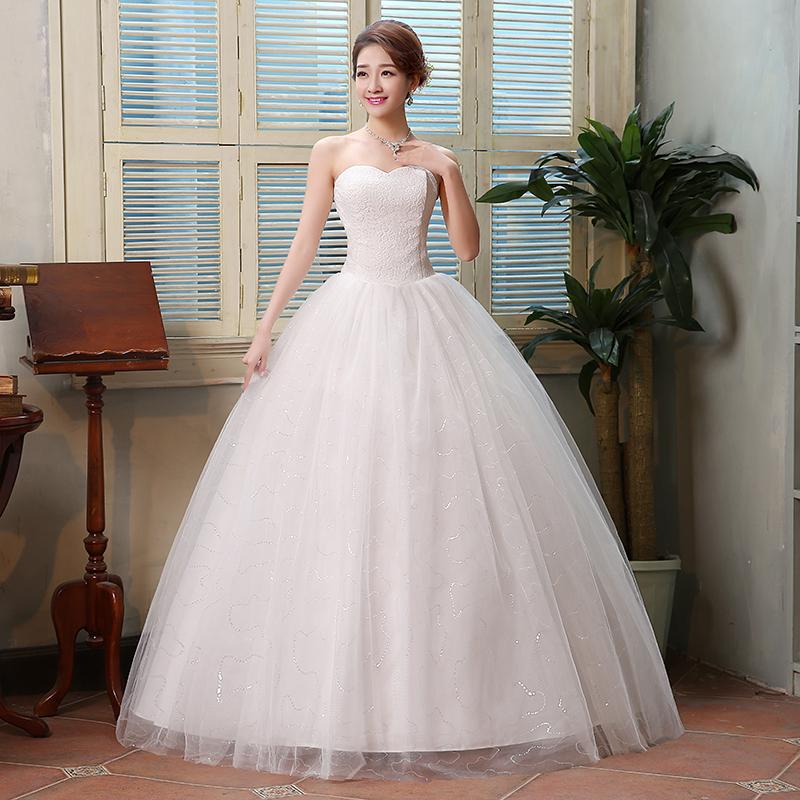 2016 Hot Sale Sweetange Korean Style Sweet Romantic Lace Princess Wedding Dress Yarn Bride