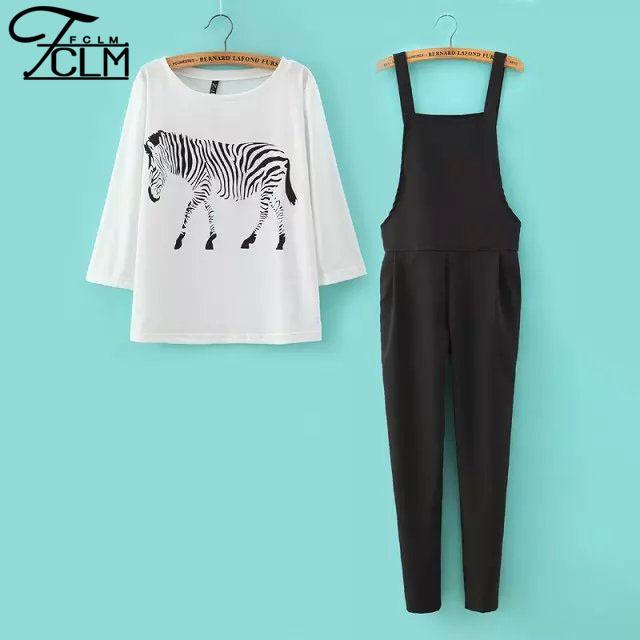 2016 женщины мода устанавливает животных печать футболки и черный комбинезон комплект ...
