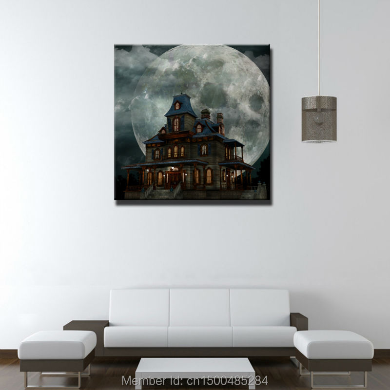 LED canvas ANCIENT CASTLE print painting with led lights home Decor wall art-in Painting ...