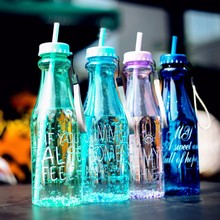 650ml Fashion Unbreakable Water Bottle Plastic Portable Sports Cup With Straw My Creative Bottle BPA Free(China (Mainland))