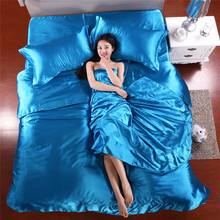 Wholesale Silk Sheets China Silk Bedspreads Bed Linen Cotton 4pcs of Blue Silk Duvet Cover Sets Bedsheet Pillowcase Freeshipping(China (Mainland))