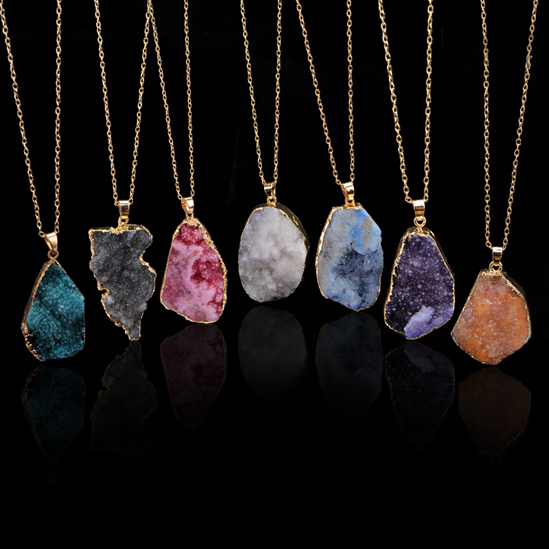 2015 New Arrival Colorful Irregular Shape Natural Stone Pendant Necklace Women Druzy Gold Chain Agate Necklace For Female(China (Mainland))