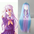 Cheap No Game No Life Shiro Long Straight Blue Ombre Anime Wigs Women 100 Kanekalon Fiber