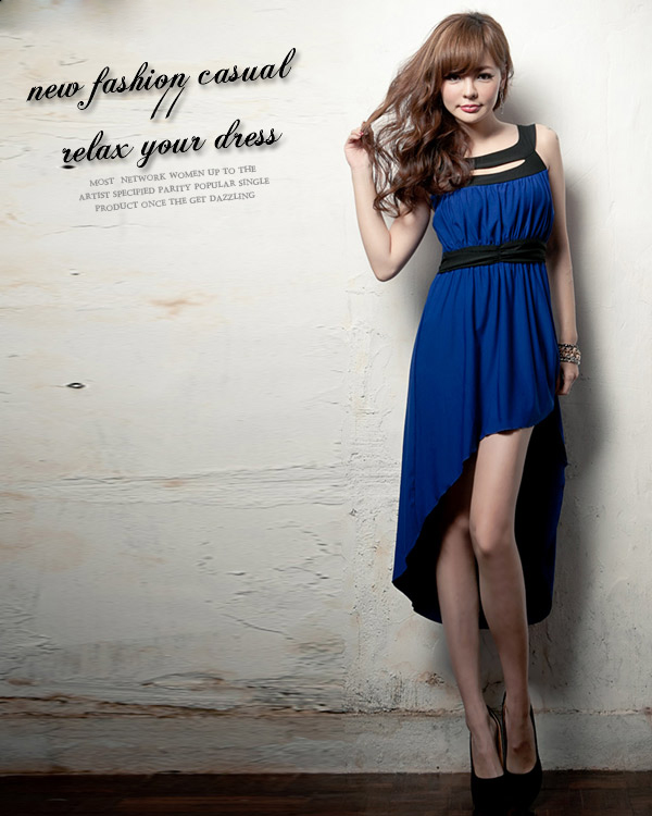 E asymmetrical solid color 70072 female wide spaghetti strap hole low-high vest one-piece dress - jim yue's store