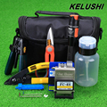 KELUSHI 15pcs set Fiber Optic FTTH Tool Kit with FC 6S Cleaver and 10mW Visual Fault