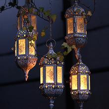Morocco European Style Iron Art Hanging Candle Holders Decoration Multicolor Glass Creative Wedding Candelabrum Candlelight WZ(China (Mainland))