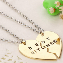 Vintage Delicate Jewelry Heart Shaped Pendants Necklaces Rhinestone 2 Parts For  best bitches Inset Crystle Love Friends Forever