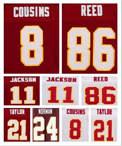Best quality jersey,Men's 8 Kirk Cousins 86 Reed 24 Josh Norman 11 DeSean Jackson 21 Sean Taylor elite jerseys Size 40-56(China (Mainland))
