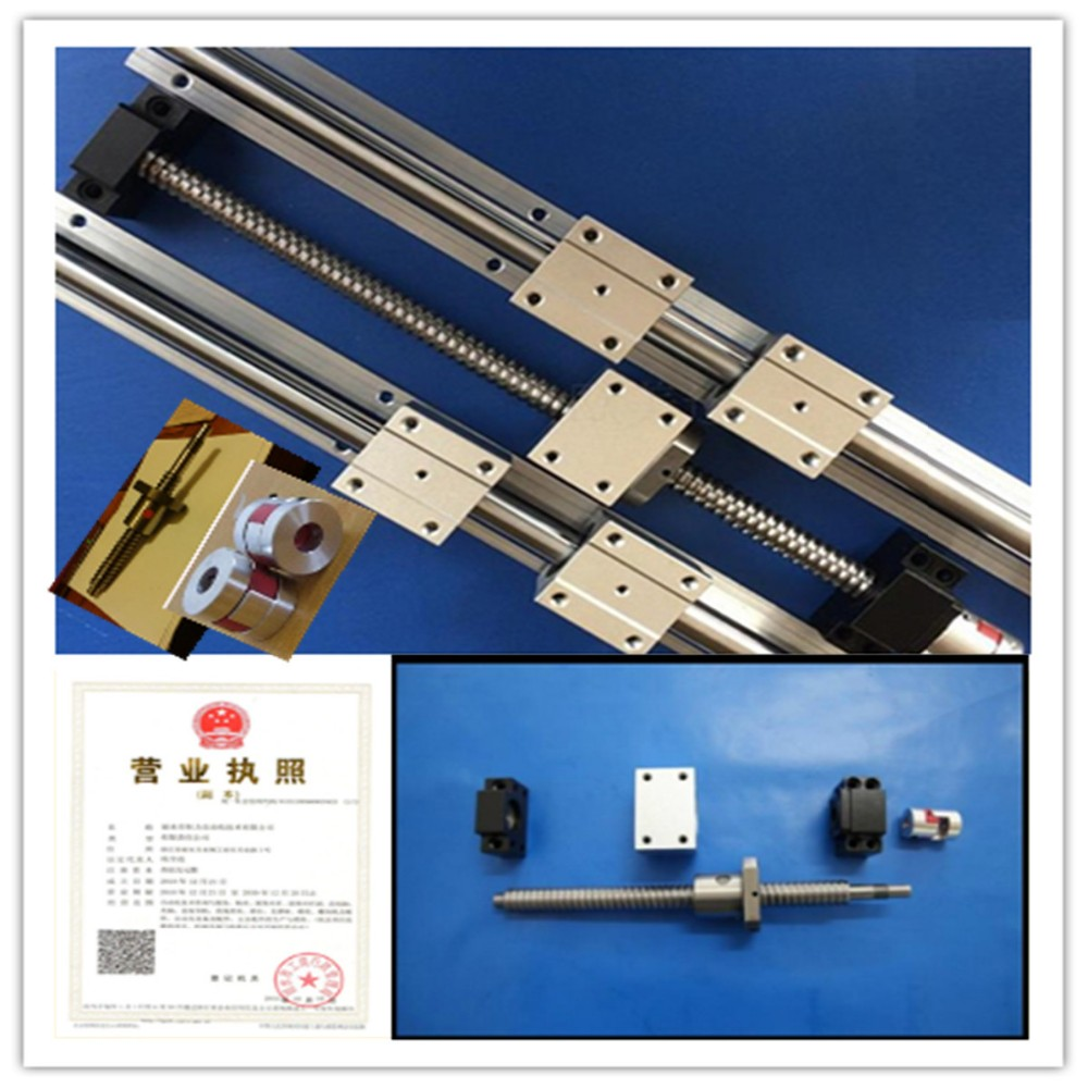 3 linear rails SBR20-300/600/1000mm set +3 ballscrews RM1605+ballscrew support BK/BF12 couplers CNC - lishui city hengli Automation Technology co., ltd. store