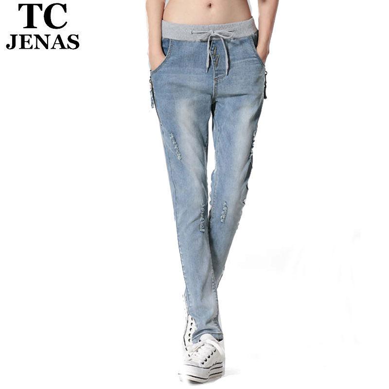 TC Harem Pants Women Jeans Elastic Waist Full Length Hole Jeans Pants 2015 New Slim Fashion Woman Denim Trousers WT00083Одежда и ак�е��уары<br><br><br>Aliexpress