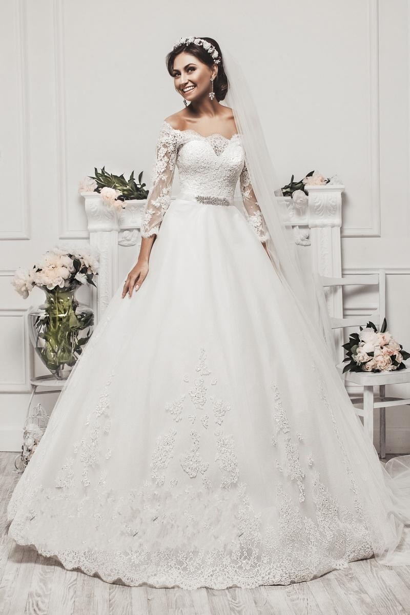 New elegant long sleeve appliques lace ball gown princess for Elegant ball gown wedding dresses
