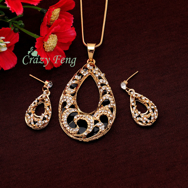 Women's 18k Yellow/White Gold Plated Austrian Crystal 2 Colors Chain Pendant Necklace + Earrings Jewelry Sets Gift Free shipping(China (Mainland))