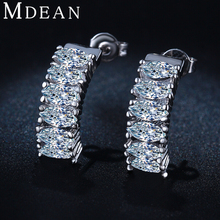 MDEAN White Gold Plated Earrings for women CZ diamond jewlery AAA Zircon Wedding brincos Engagement boucle d'oreille MSE034(China (Mainland))