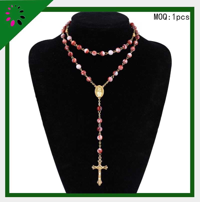 2015 hot sale red Acrylic Christian latest design beads necklace Rosary(China (Mainland))