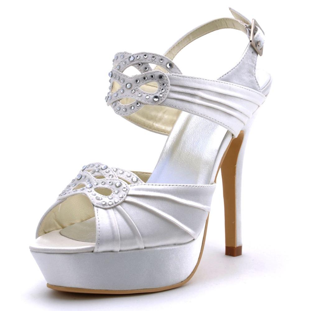 Фотография EP11059-PF White Women Peep Toe Bridal Party Prom Pumps High Heels Satin Platform Rhinestone  Buckle  Wedding Shoes EU35-42