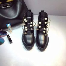 Genuine leather beaded ankle boots women real leather metallic boots fashion booties(China (Mainland))