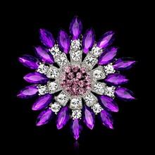 9 Warna Shiny Merah Biru Besar Kristal Berlian Imitasi Bunga Matahari untuk Wanita Bros Pin Syal Aksesoris Perhiasan Hadiah Pernikahan 6.8 cm(China)