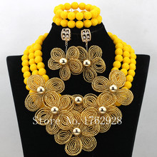 Gold Flowers African Wedding Artificial Coral Jewelry Set Nigerian Fashion Beads Sets Statement Necklace Free Shipping LI021(China (Mainland))