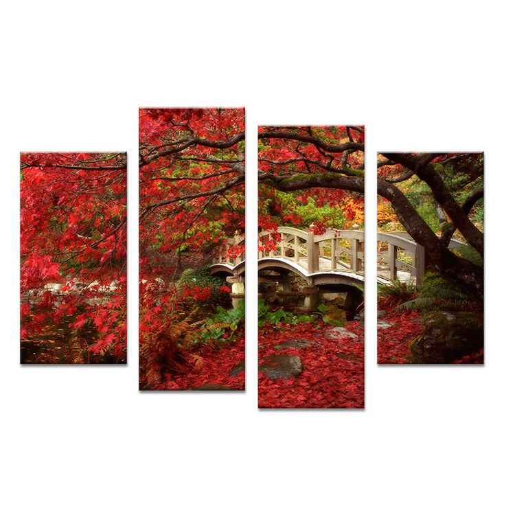 Wall Art Red Leaves : Red tree leaf on the land paints wall painting print