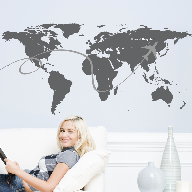 Creative Airplane Flying World Map Wall Decals PVC Material Waterproof DIY Mural Stickers for Living Room Company Decoration(China (Mainland))