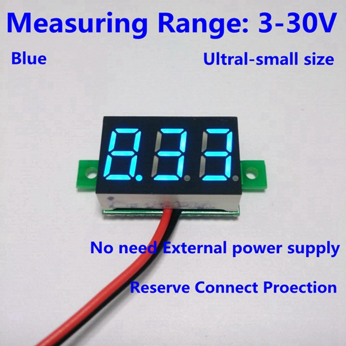 10PCS/LOT DC3-30V Blue led car digital volt voltage panel meter gauge voltmeter battery monitor voltage detector B0012-10(China (Mainland))