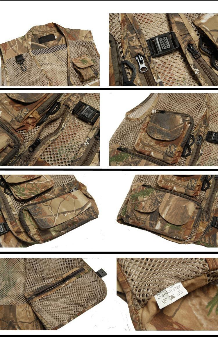 Men's Camping Hunting Camouflage Spring Summer And Autumn More Mesh Pocket Outdoor Photography Vests Fishing Vest Waistcoat