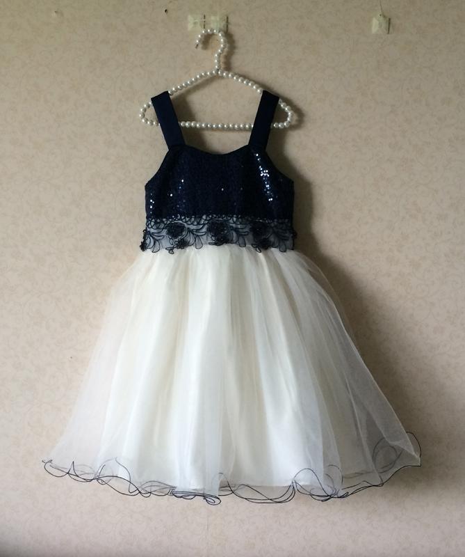 wholesale 5pcs/lot free shipping bonnie jean big girl dress for party girl ball gown dress kids black and dark blue(China (Mainland))