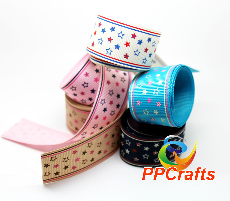 PPCrafts Ribbon 1.5 inch 38mm Colorful Stars Printed Grosgrain Ribbon 100yds/roll free shipping ~ Pick Up A color from 5 colors