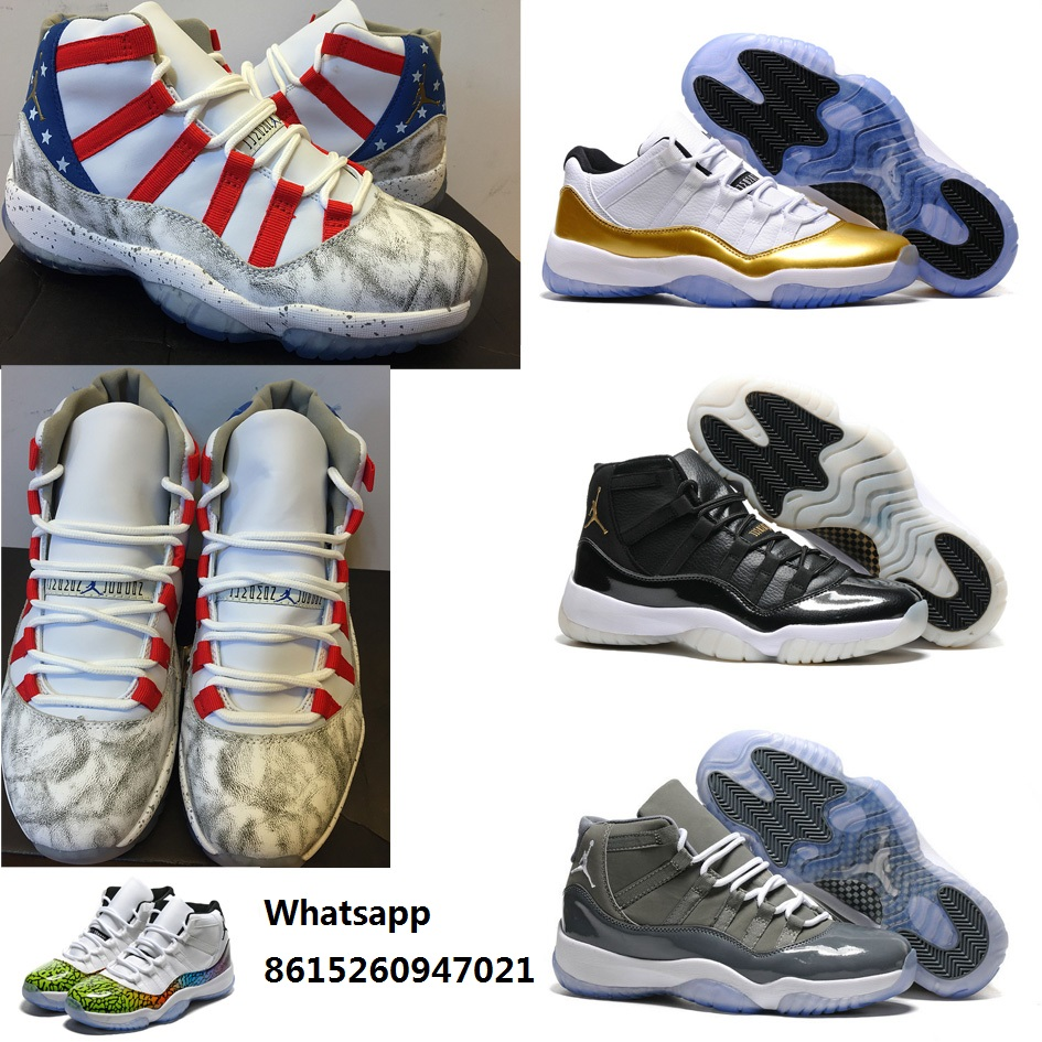 New 2016 mens air jordan 11 shoes retro xi boots usa flag black gold white low olympic with original box for man size US 8 to 13(China (Mainland))