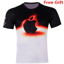 New 2016 Apple 3D T shirt fashion printed cotton round neck speed drying short-sleeved T-shirt